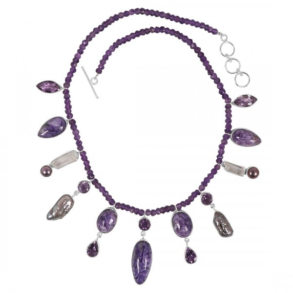 Charoite Necklace with Amethyst Beads-NSL CHR-12-1