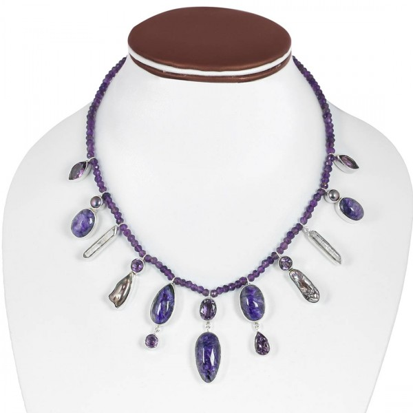 Charoite Necklace with Amethyst Beads-NSL CHR-12-3