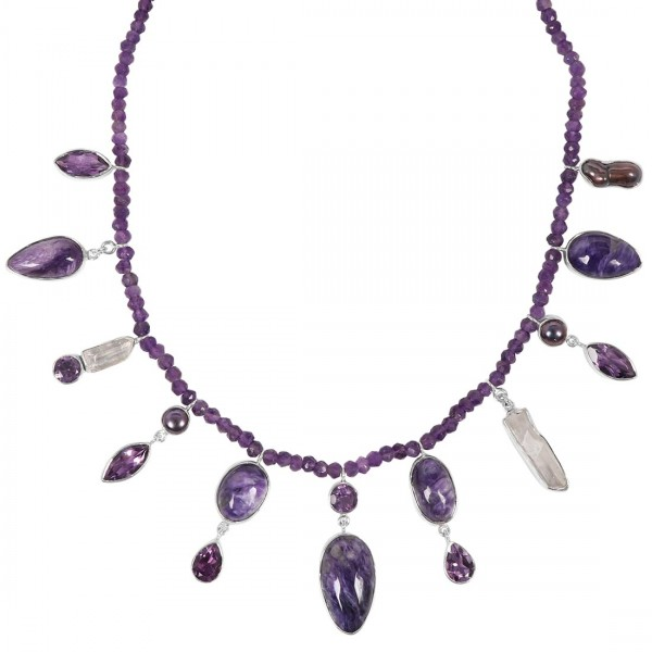 Charoite Necklace with Amethyst Beads-NSL CHR-12-4
