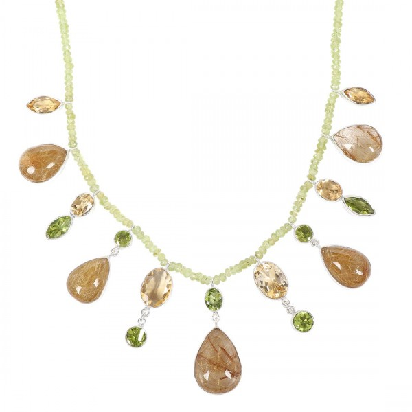 Golden Rutile Necklace with Peridot Beads-NSL GDR-12-1