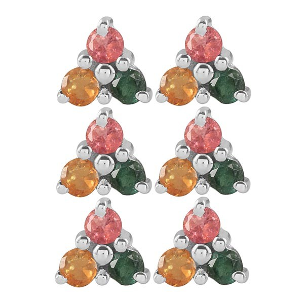 Multi Stone Earring Stud 3 Pcs Set MLS-RDE-31(3Pcs)
