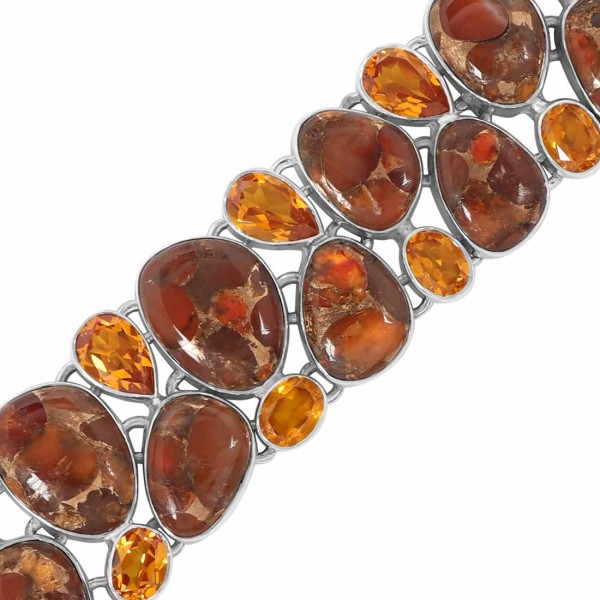 Turquoise (Orange Copper) Bracelet-BJ TRC-11-6
