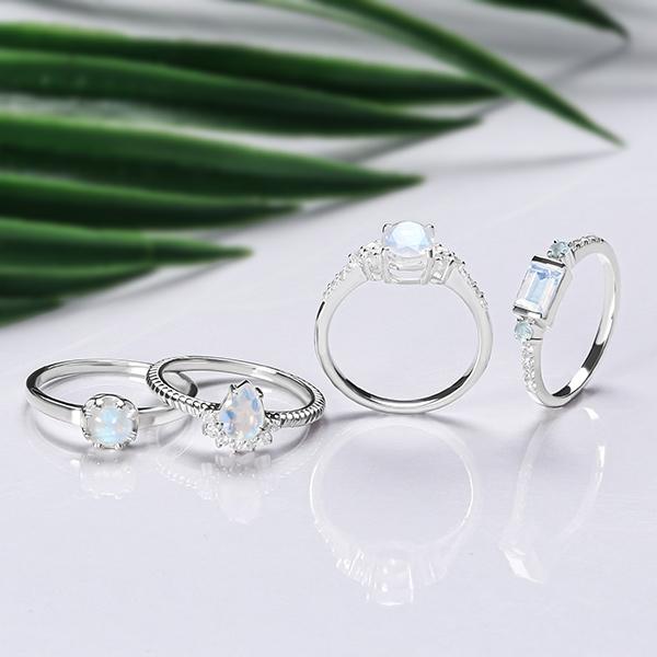 Moonstone rings sterling silver