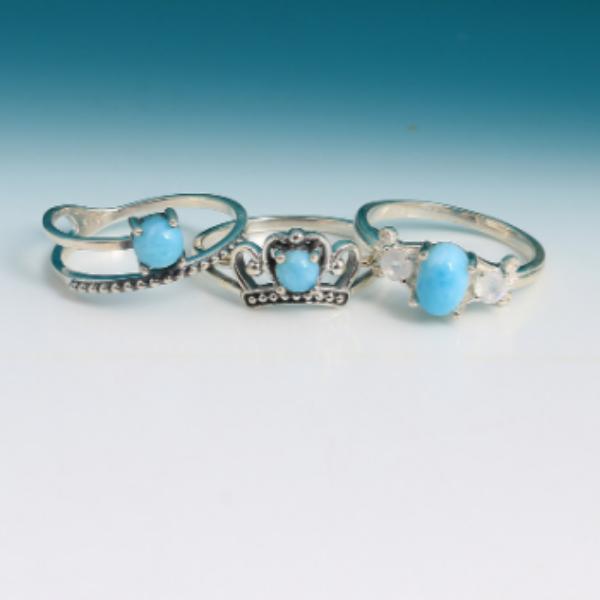 Sterling Silver Larimar Rings