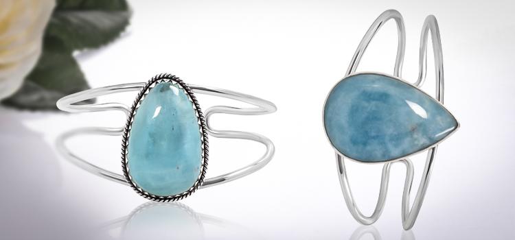 Aquamarine Gemstone Cuff Bracelet