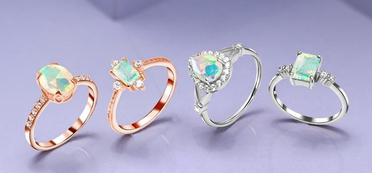 silver and Rose Gold Opal Ring